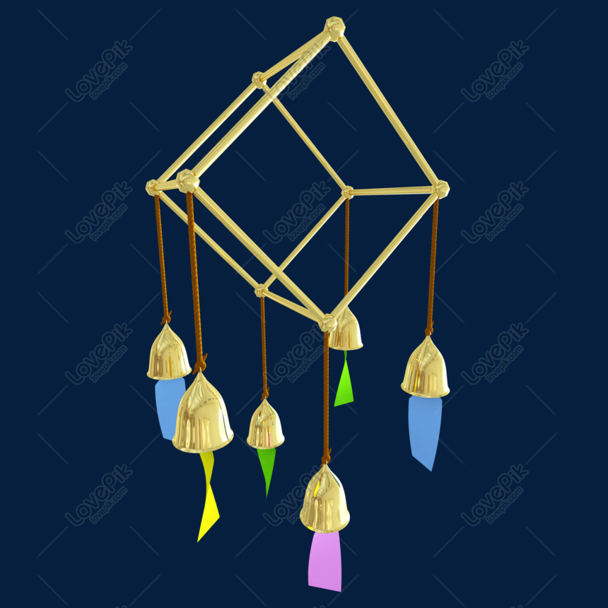 c4d golden wind chime geometric frame png