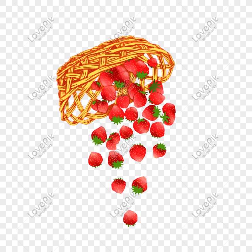 Strawberry Merah Tangan Dicat Keranjang Buah Segar Png