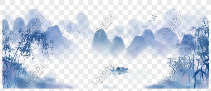 chinese style hand painted ink landscape painting png