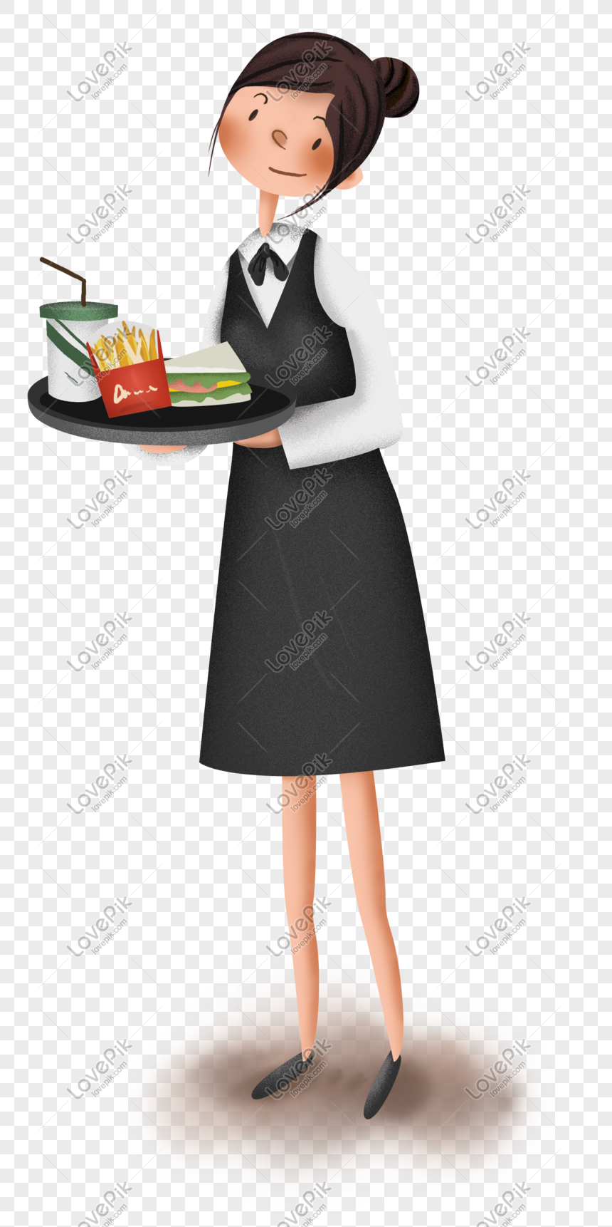 Work Series Fast Food Restaurant Waiter Png Image Picture