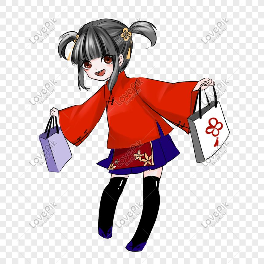 Linda Chica Japonesa Con Un Regalo En El Vestido Rojo Imagen