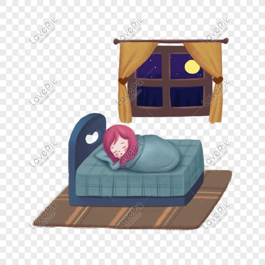 Gadis Kartun Tidur Ilustrasi Malam Yang Baik Gambar Unduh