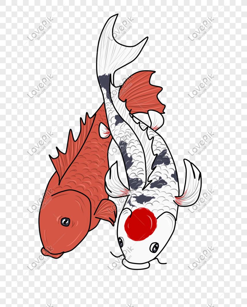 Ilustrasi Tangan Ikan Koi Merah Putih Gambar Unduh Gratis