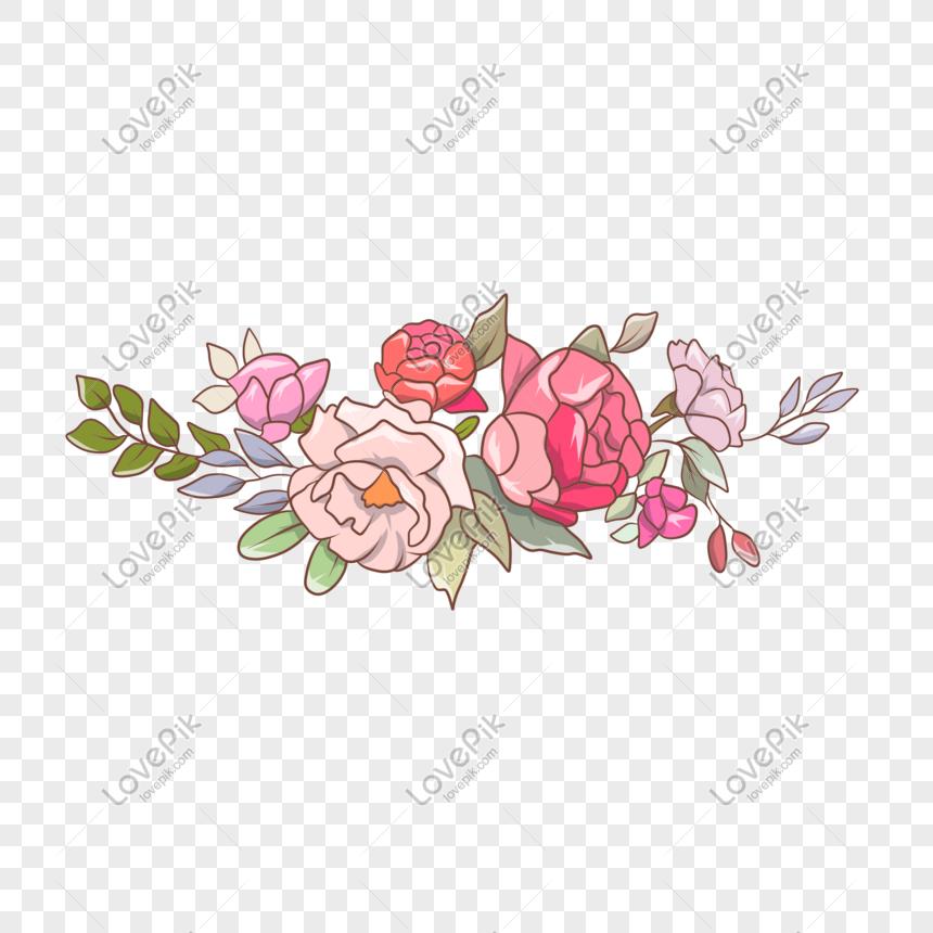 Pink Merah Bunga Daun Musim Panas Kecil Tanaman Contoh Ilustrasi