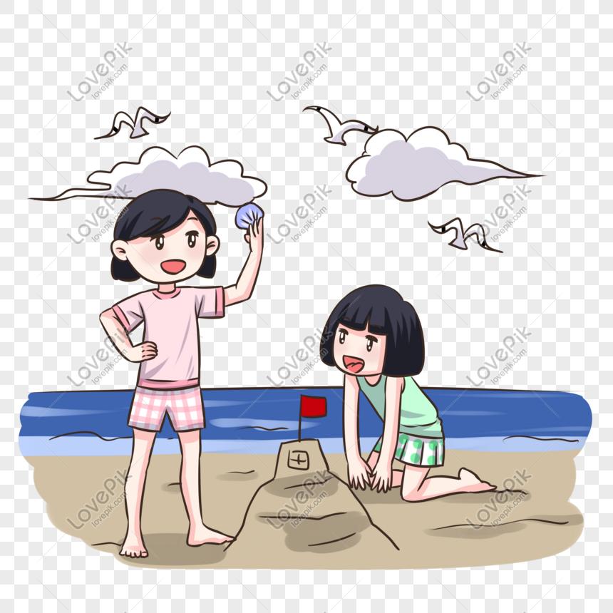 Ilustrasi Liburan Pantai Pantai Kartun Digambar Tangan Png Grafik Gambar Unduh Gratis Lovepik
