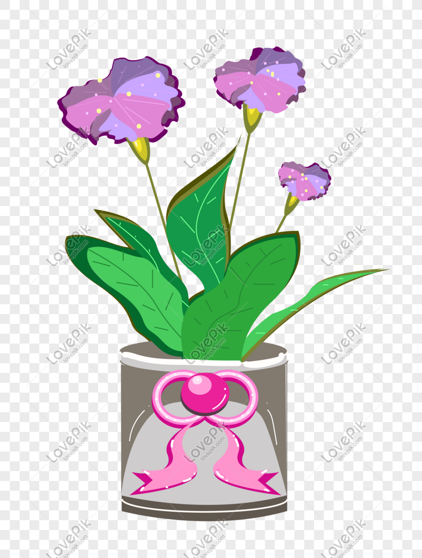 purple hand drawn cartoon flowers potted png
