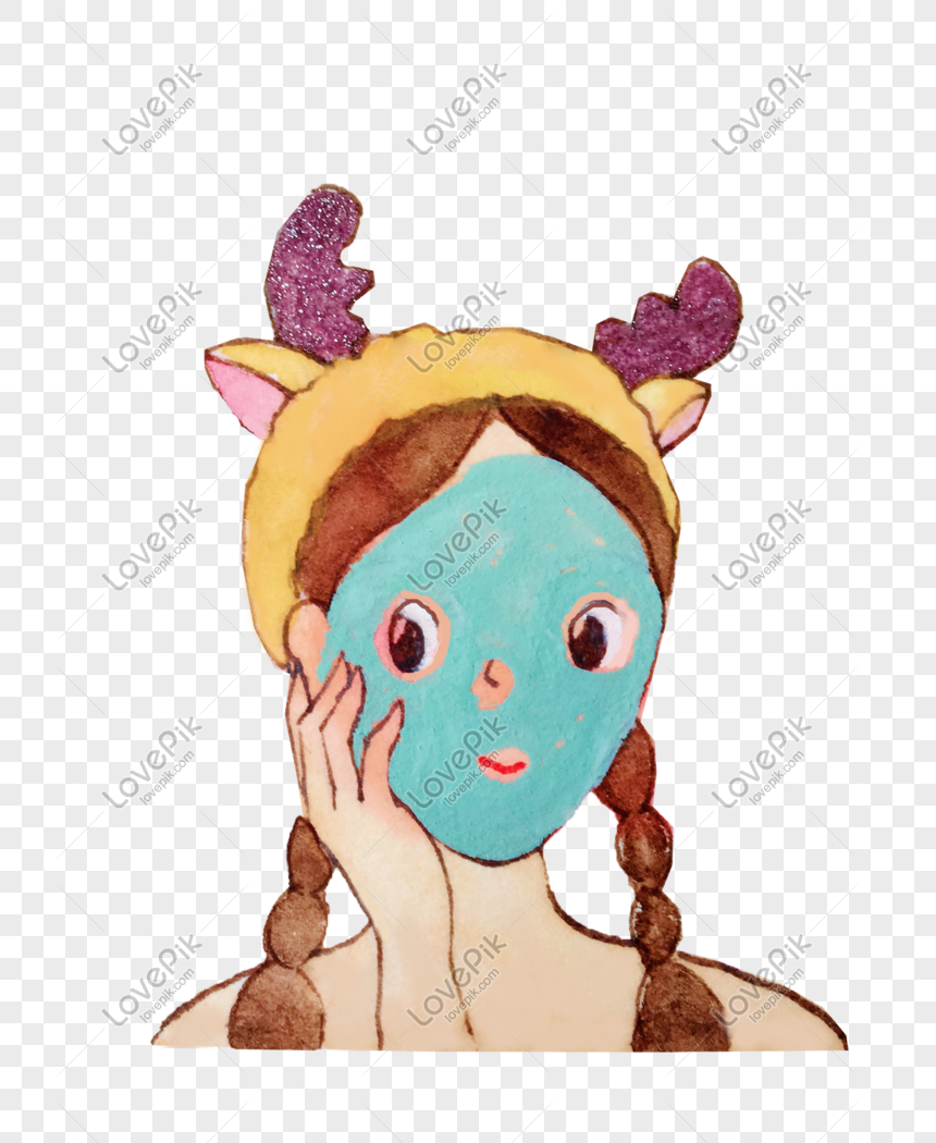 Kartun Tangan Gadis Yang Dilukis Melakukan Ilustrasi Topeng