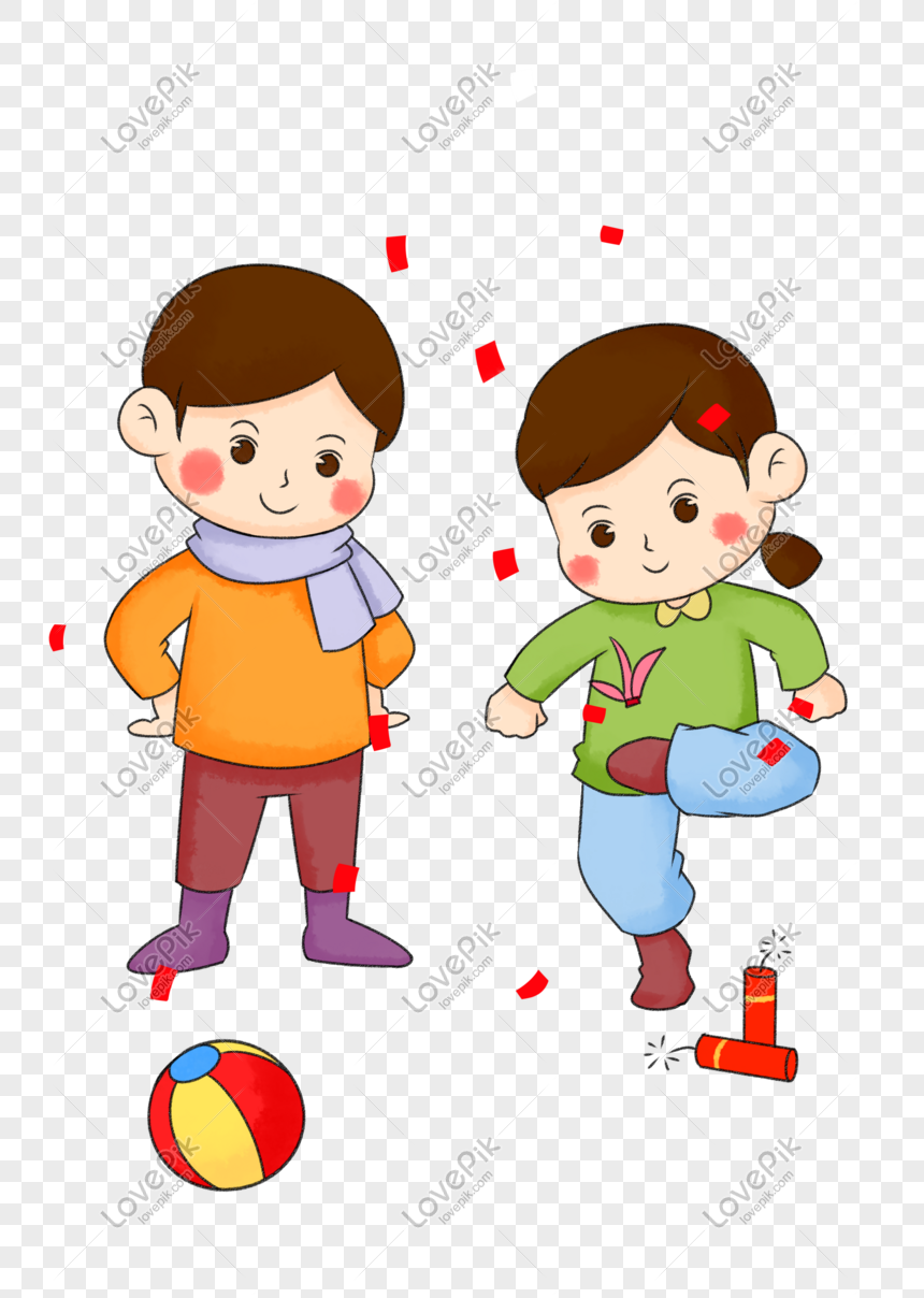 Hand Drawn Cartoon Cute Little Kids Playing Shuttlecock Png