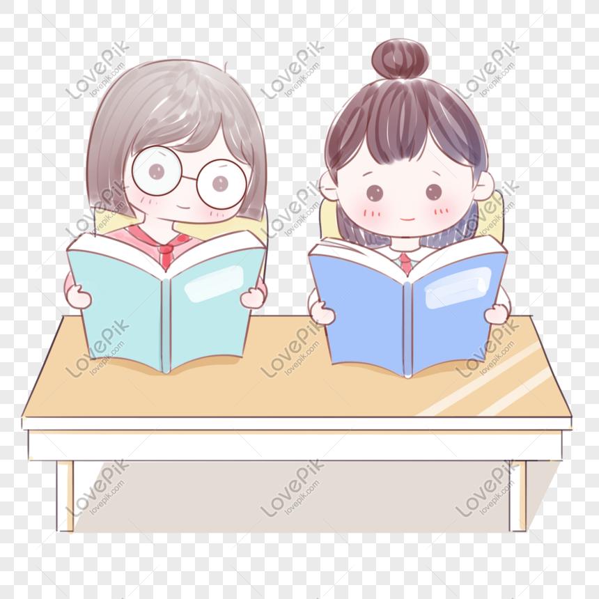 Kartun Anak Sekolah Yang Lucu Sedang Membaca Buku Png Grafik Gambar Unduh Gratis Lovepik