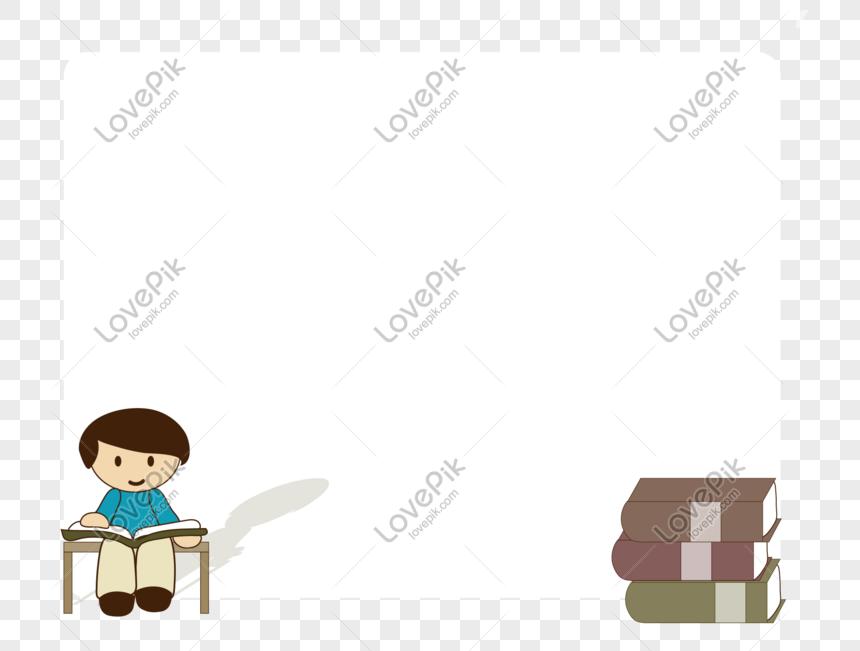 Borda De Livro De Personagem De Desenho Animado Desenhada De Mao