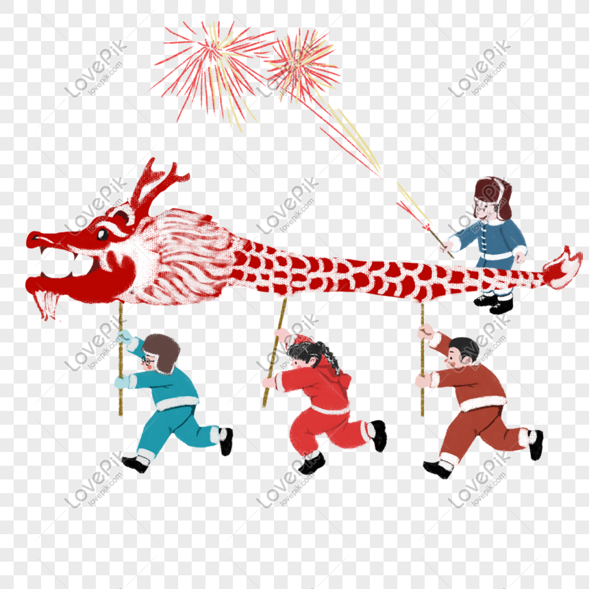 Chinese New Year Children Playing Firecrackers Png