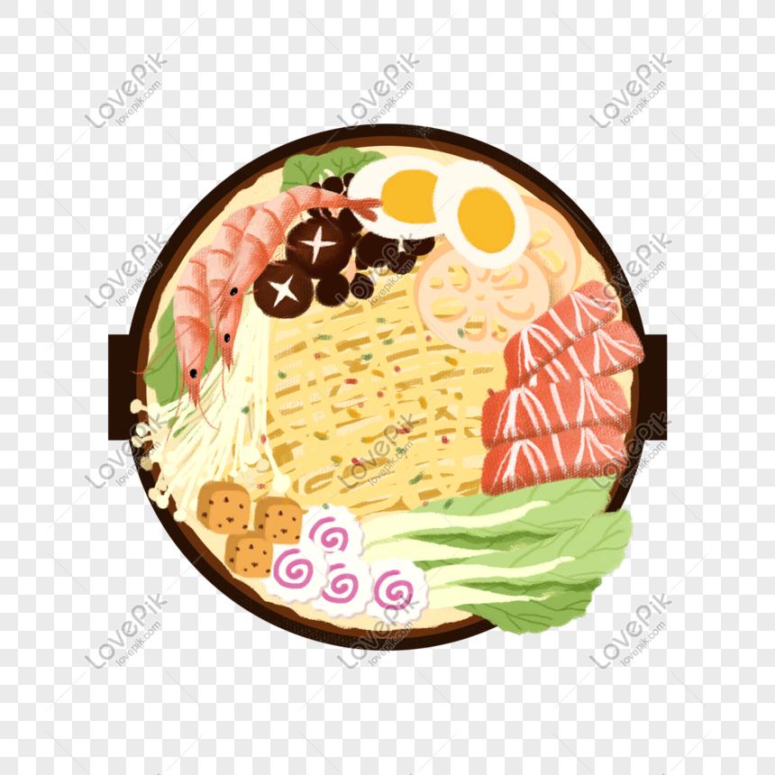 Dibujado A Mano De Dibujos Animados Gourmet Comedor Olla Calient