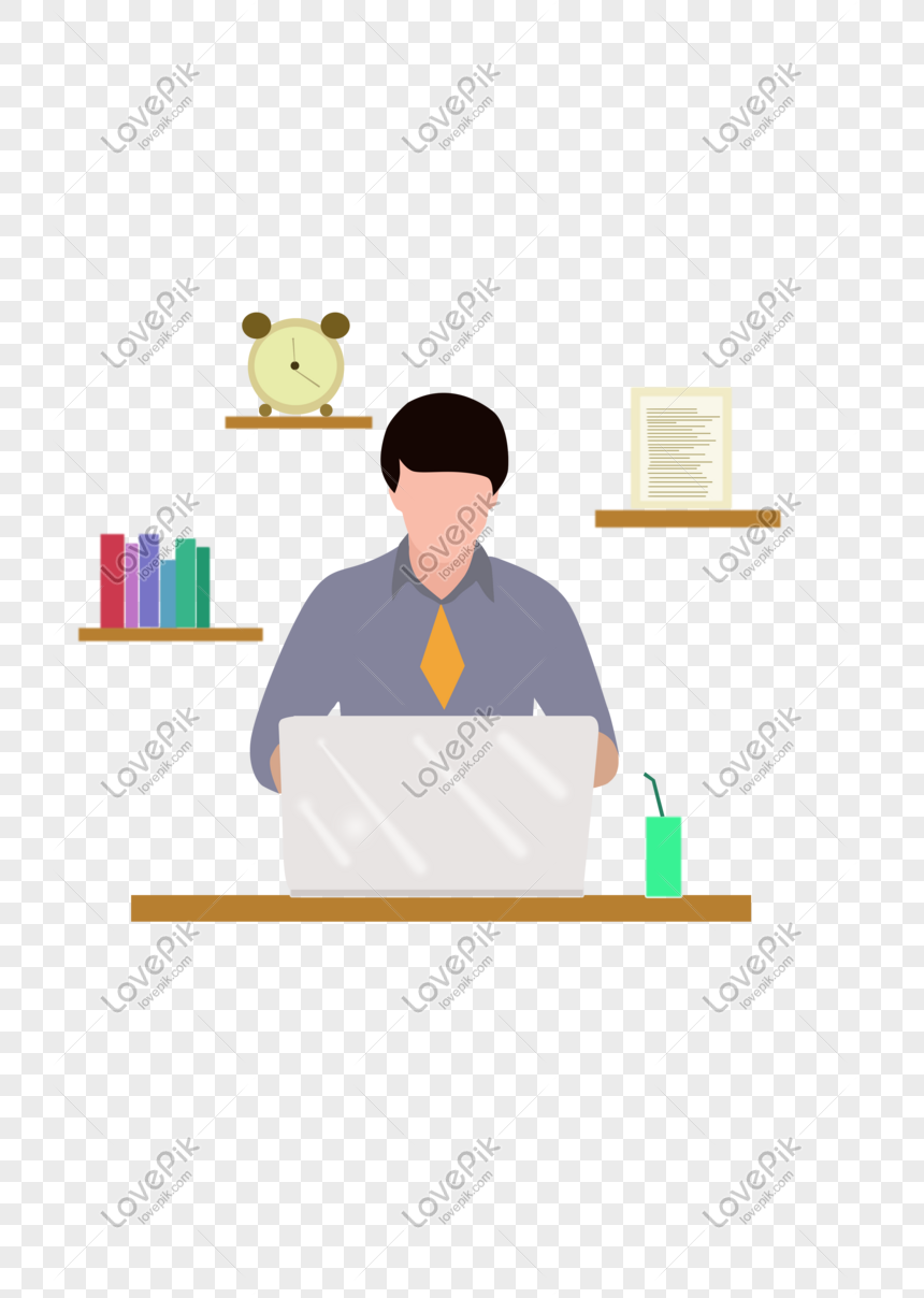 Hand Drawn Illustration Of People Working Flat Png Image_picture