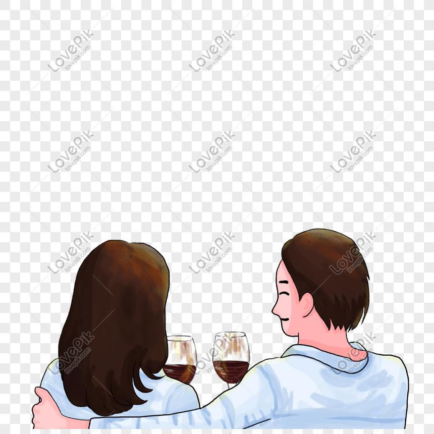 Pasangan Memeluk Minum Arak Merah Tangan Yang Ditarik