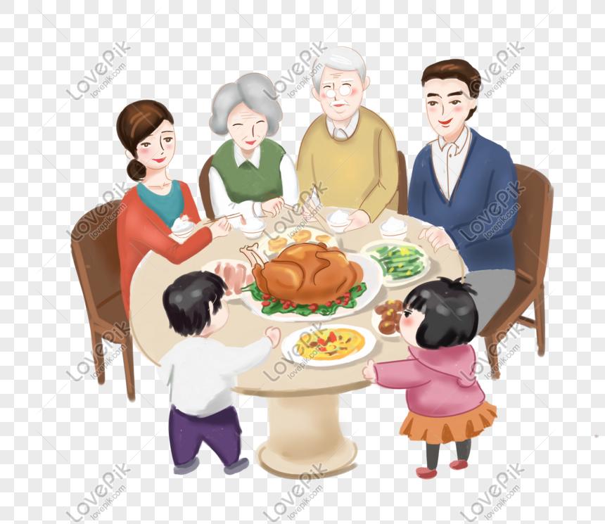 Acción De Gracias Reunión Familiar Comiendo Pavo Ilustración Imagen