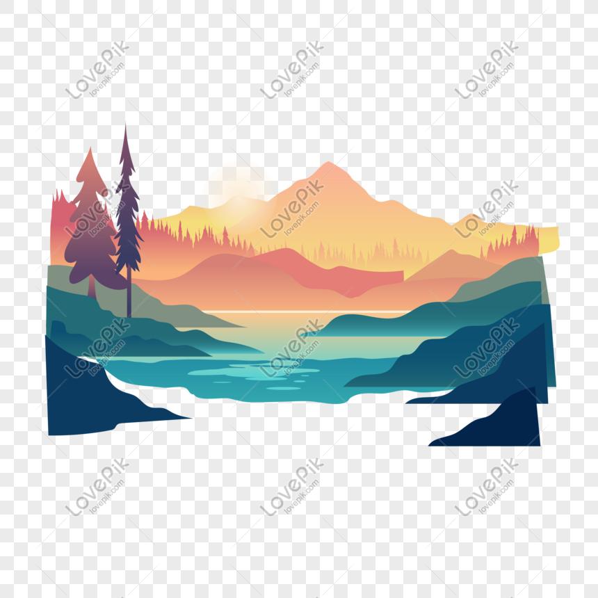 Landscape vector sunset landscape png image_picture free