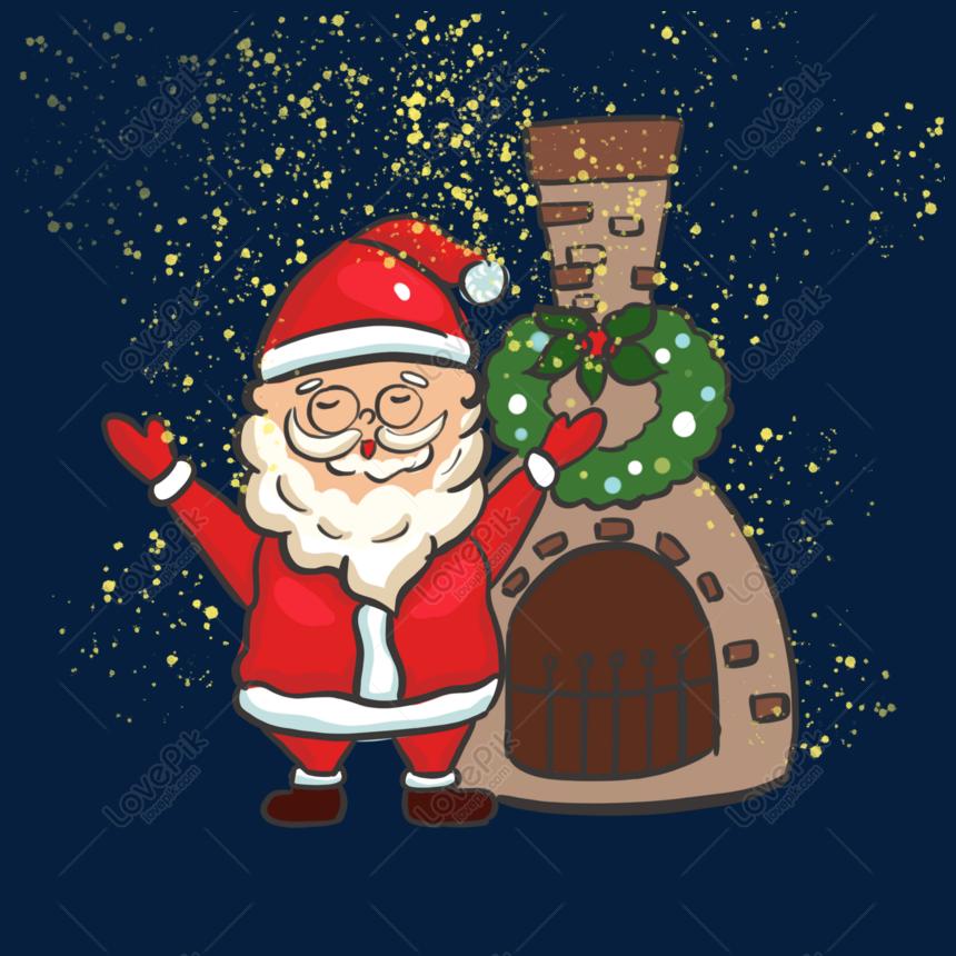 Dibujado A Mano Dibujos Animados Navideños Estufa De Santa