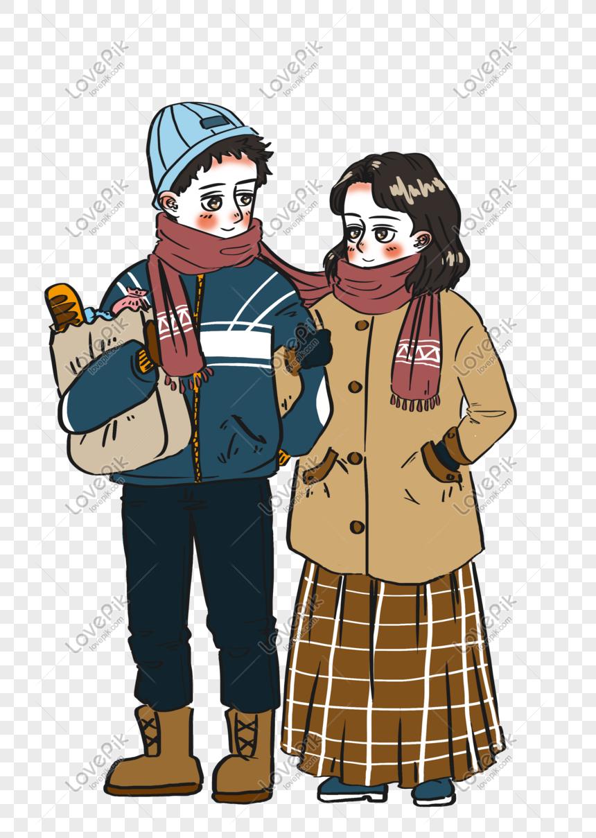 Casais De Inverno Compras Juntos Personagens De Desenhos Anima