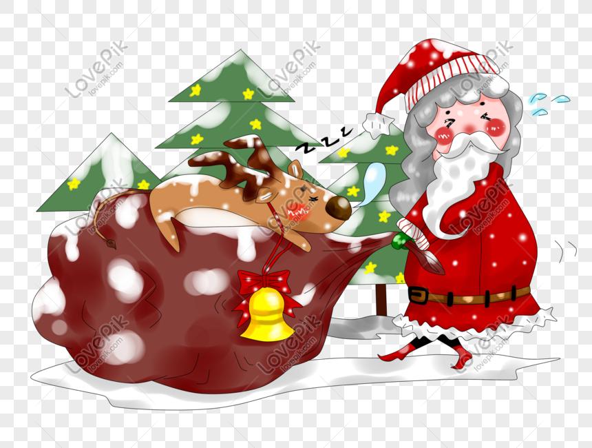 만화 손으로 그린 원래 두꺼운 페인트 크리스마스 노인과 새끼