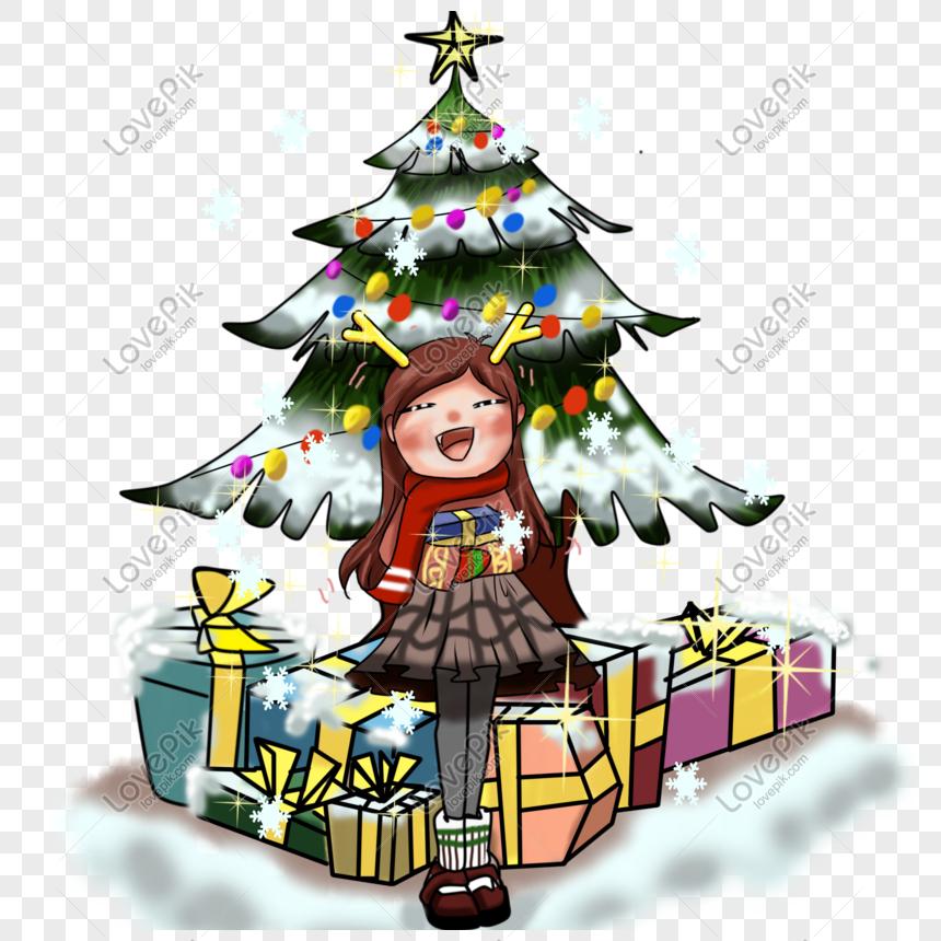 Dibujos De Arboles De Navidad Pintados.Arbol De Navidad Pintado A Mano Con Dibujos De Anime Grueso