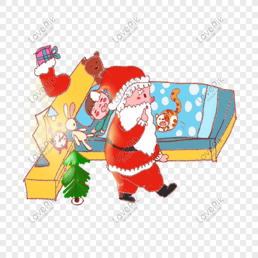Libro De Dibujos Animados Navideños De Santa Claus Dando
