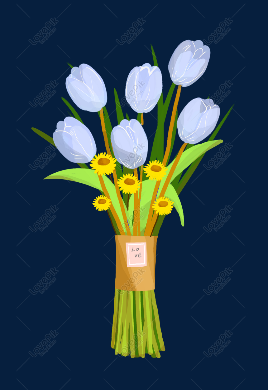 purple flower bouquet illustration png