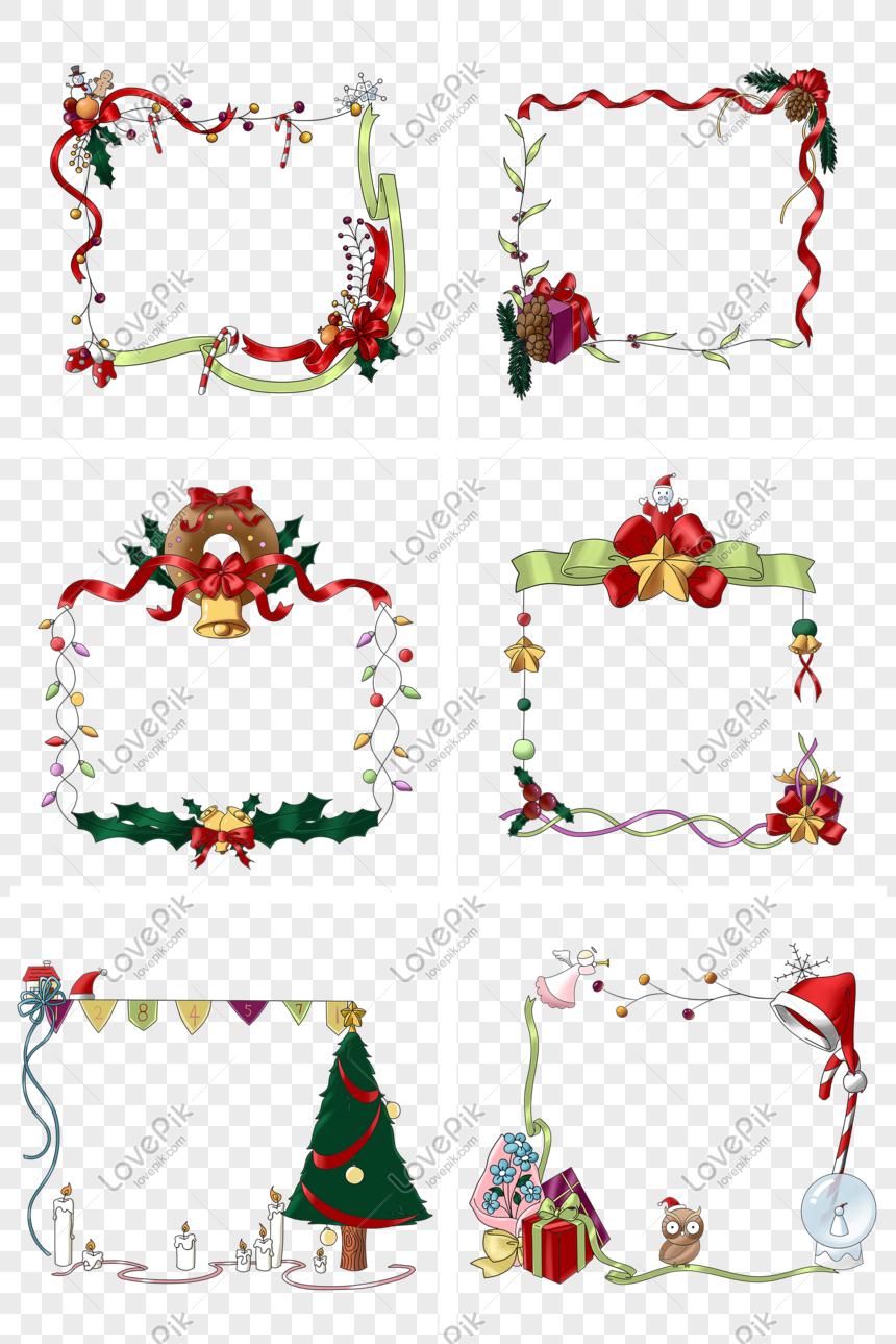 Kartun Yang Ditarik Tangan Bingkai Dekorasi Natal Gambar