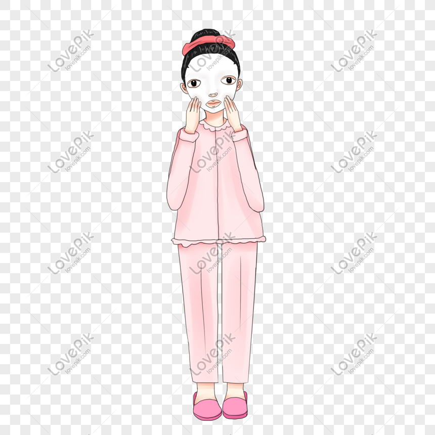 Beauty Skin Care Mask Cartoon Girl Girl Hand Painted Characters Png Image Picture Free Download 611480552 Lovepik Com