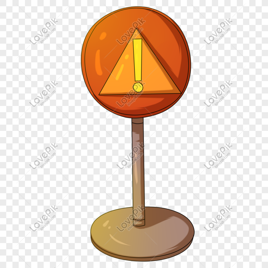 yellow round road sign illustration png