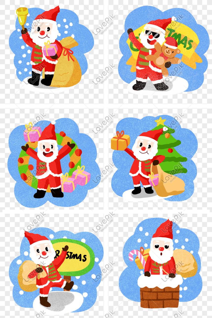 Koleksi Ilustrasi Kartun Santa Claus Lucu Natal PNG Grafik