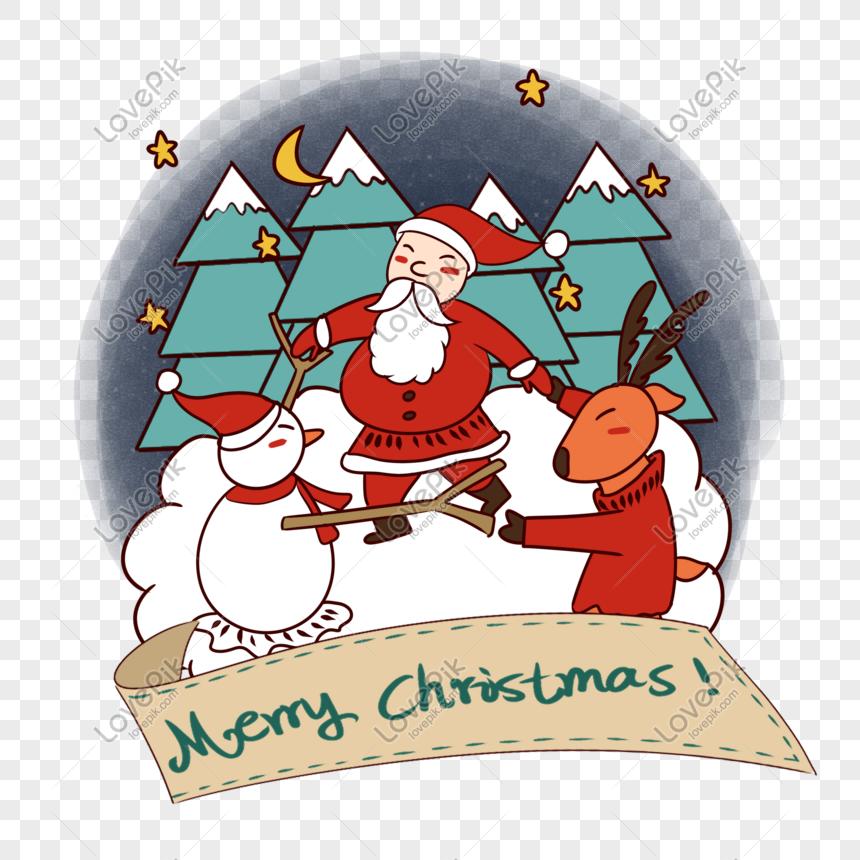 Christmas Dancing Cartoon.Hand Drawn Cartoon Cute Christmas Santa Claus Dancing With