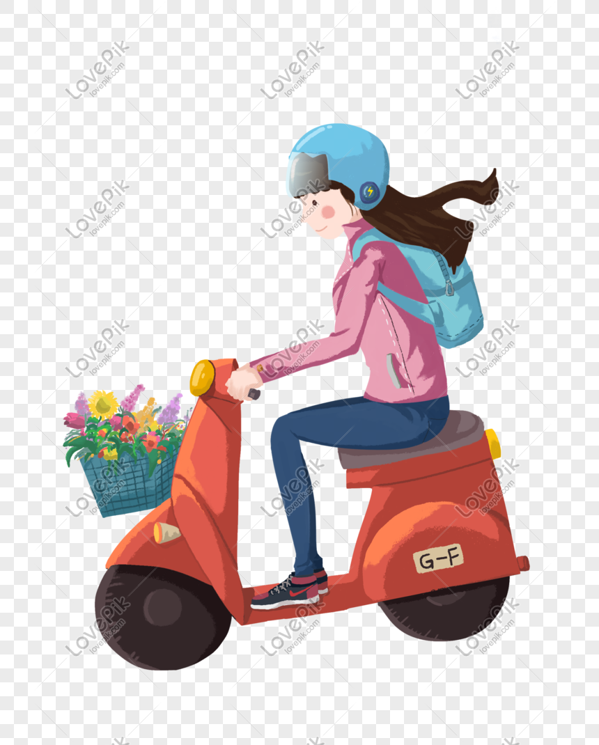 Riding A Motorcycle Girl Cartoon Hand Drawn Illustration Png