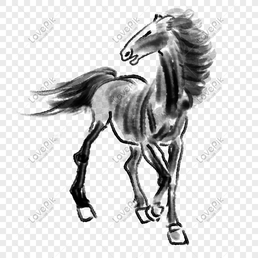 Ilustrasi Kuda Hitam Digambar Tangan Png Grafik Gambar Unduh Gratis Lovepik