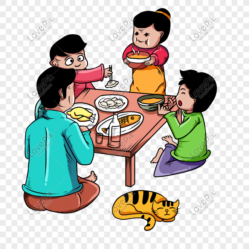 Hand Drawn Cartoon Festive New Year Scene Family Gathering Png Image Picture Free Download 611493963 Lovepik Com