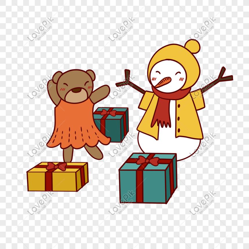 Christmas Dancing Cartoon.Hand Drawn Cartoon Cute Christmas Snowman And Bear Dancing