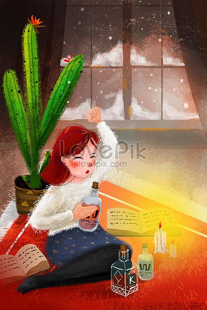 Seri Tema Matahari Musim Dingin Ilustrasi Kecil Segar Salju Di