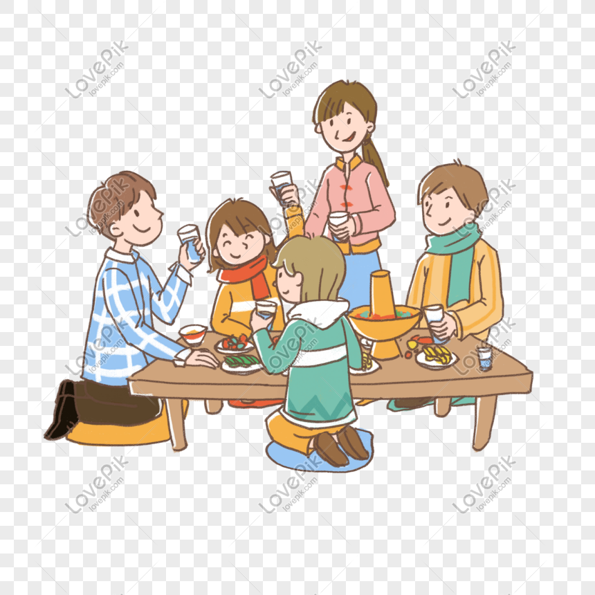 Di Tahun Baru Semua Orang Makan Malam Bersama Png Grafik Gambar Unduh Gratis Lovepik