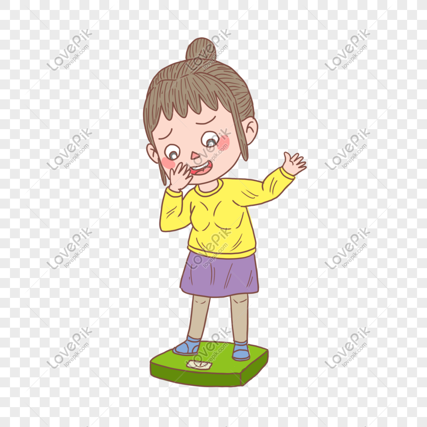 Cartoon Hand Drawn Character Weight Loss Weighing Girl Png Image Picture Free Download 611493689 Lovepik Com