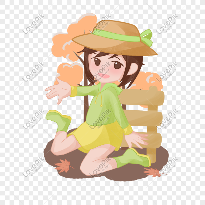 Autumn Little Girl Sitting Under Cartoon Hand Drawn Png Image Picture Free Download 611500071 Lovepik Com