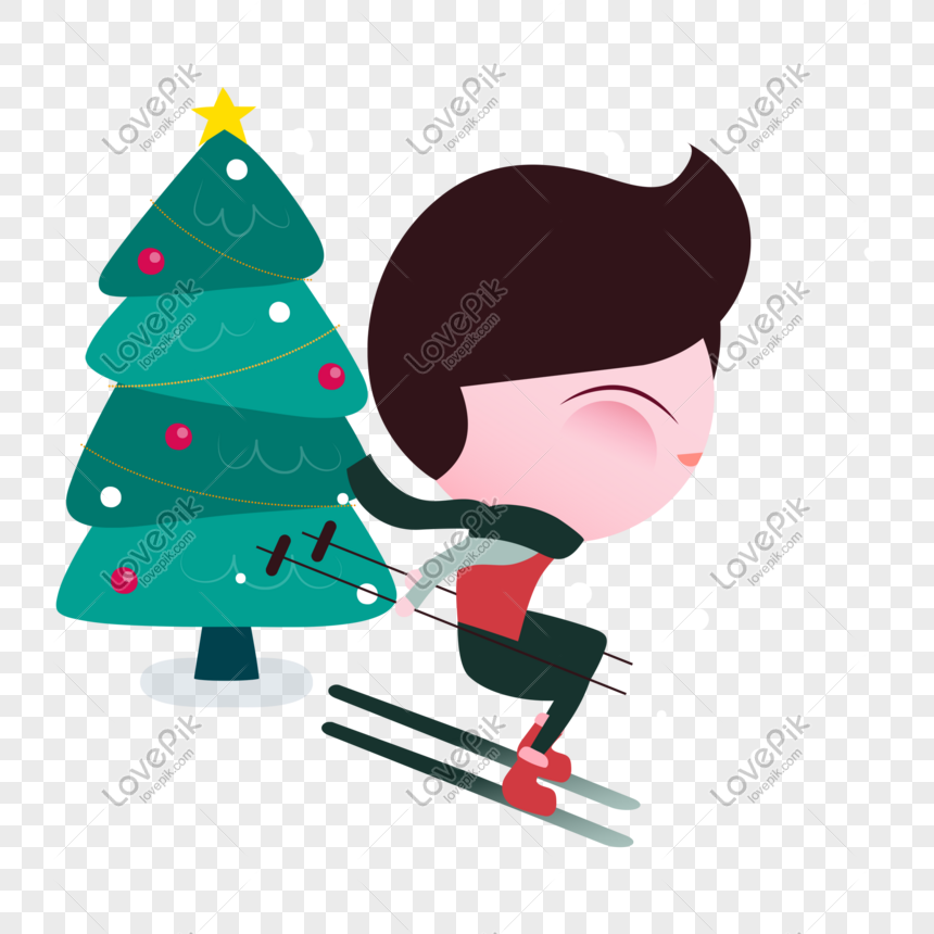 Cartoon Personality Q Version Cute Big Eyes Cute Ski Boy Png