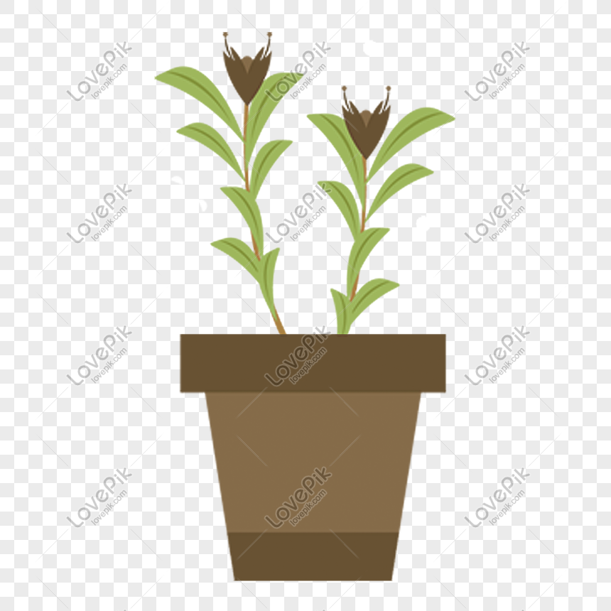 Hand Drawn Green Potted Cartoon Plant