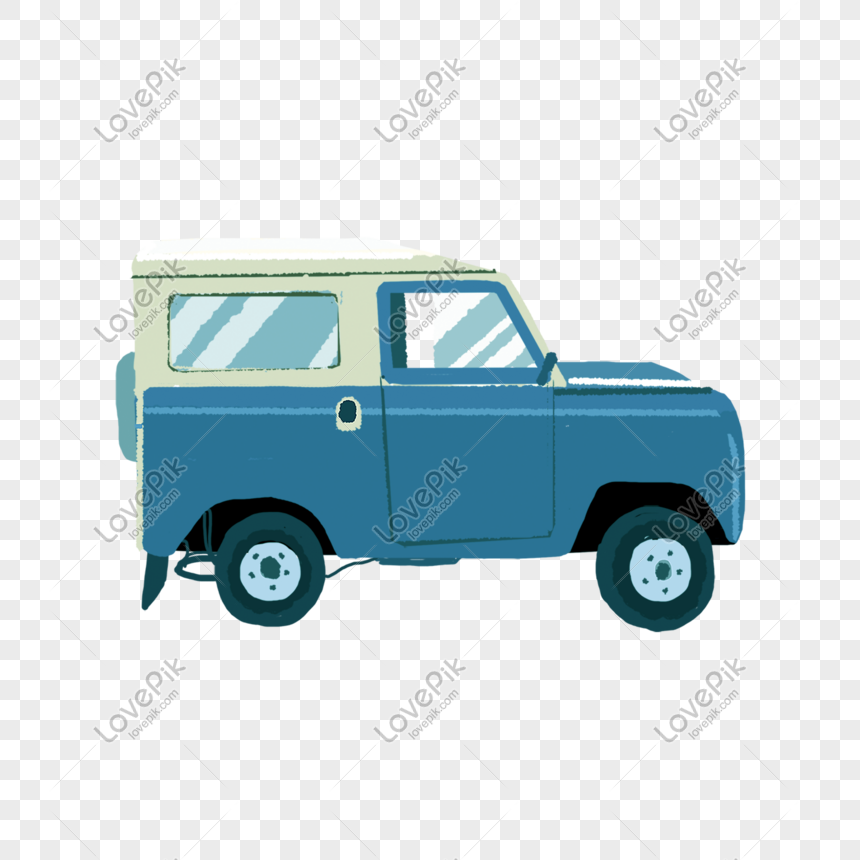 cartoon children blue car png