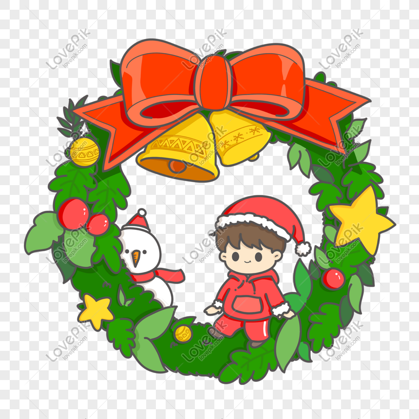 Christmas Wreath Png.Little Boy Sitting On A Christmas Wreath Png Image Picture