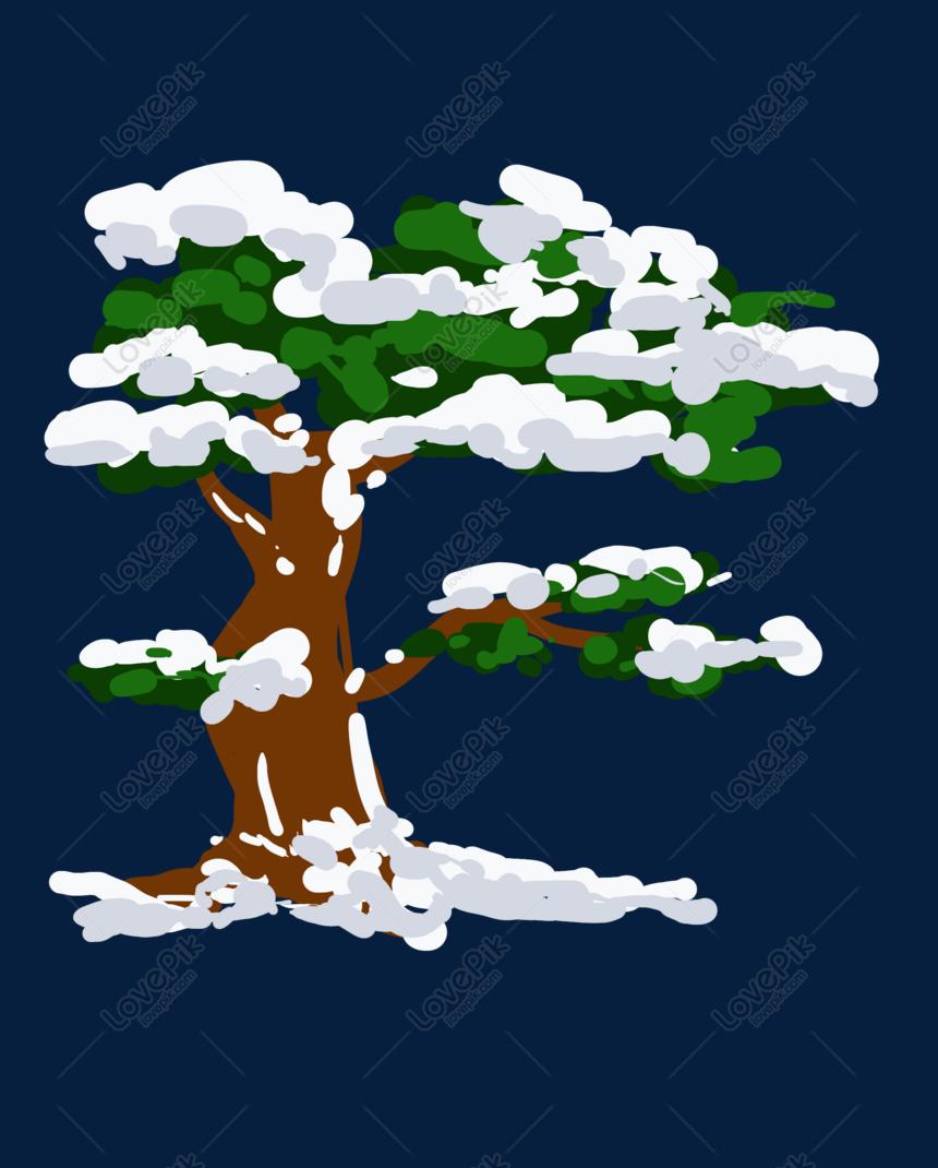 cây tuyết rơi vẽ tay minh họa