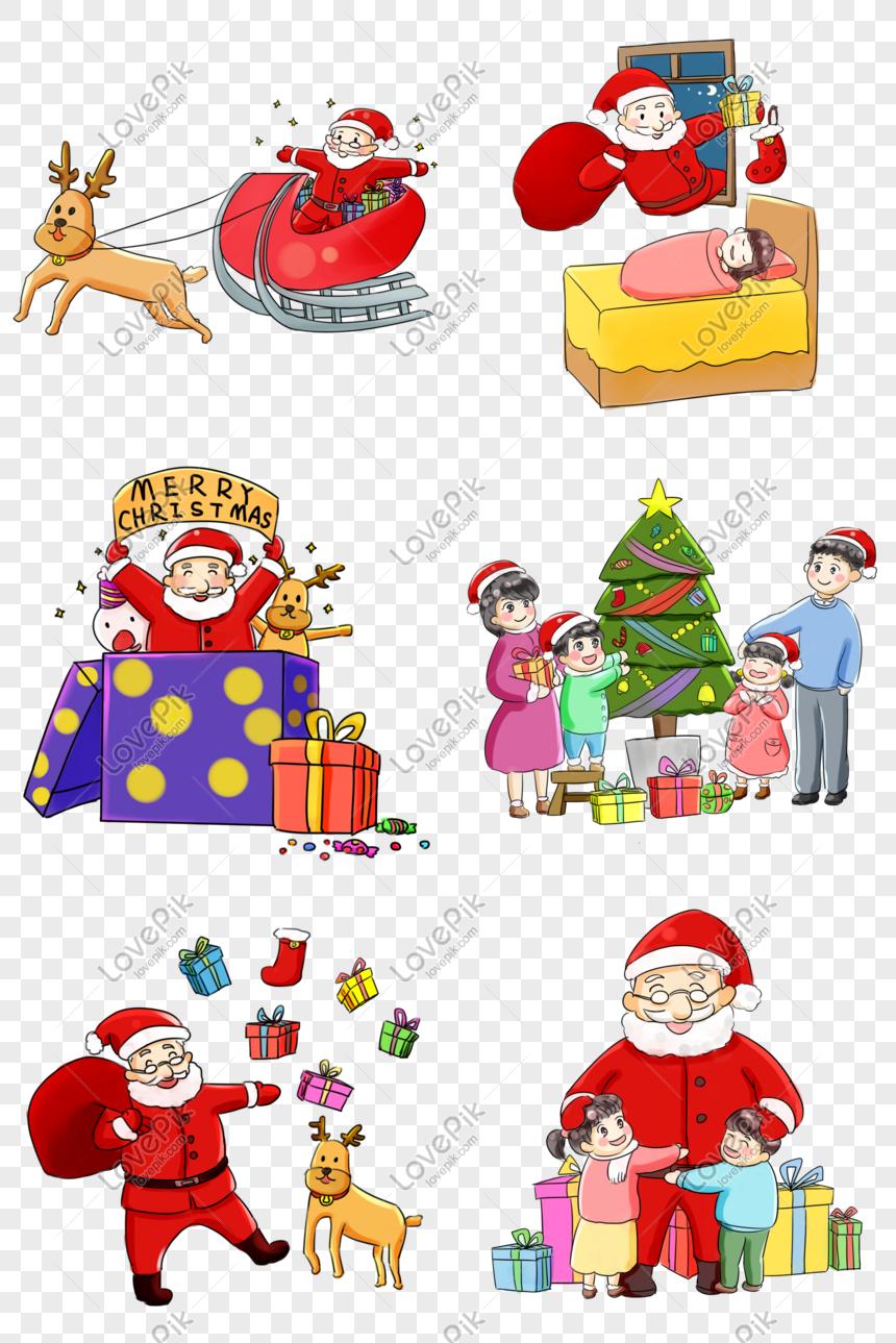 Keluarga Natal Bersama Seri Natal Kartun Yang Dilukis Dengan