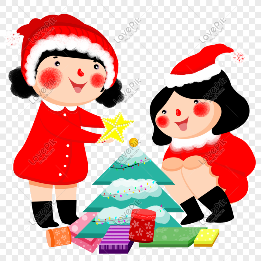 Christmas Hat Drawing Png.Christmas Girl Hand Drawing Cartoon Character Png Material