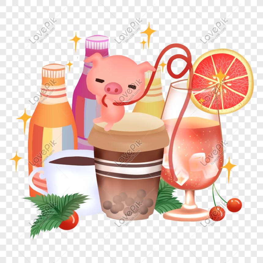2019 Minuman Makanan Babi Gambar Unduh Gratis Grafik