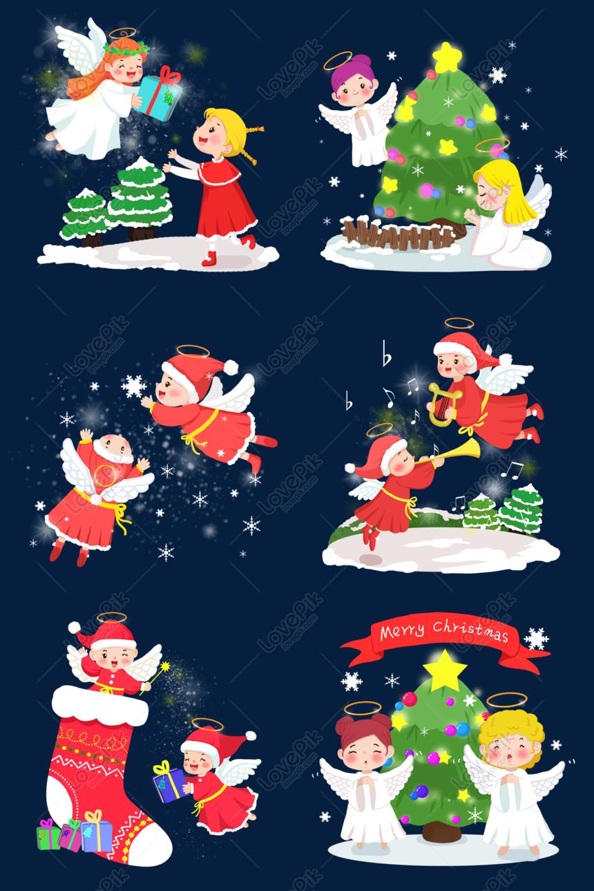 Kartun Tangan Ditarik Malaikat Natal Gambar Unduh