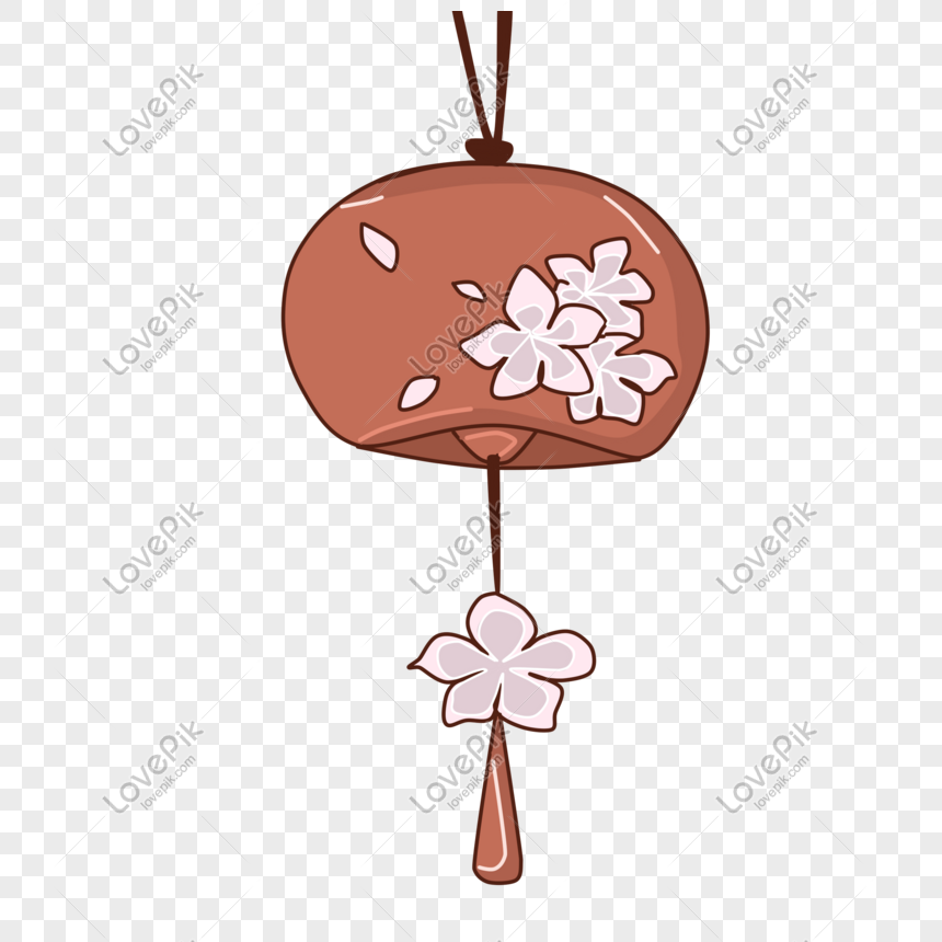 hand drawn petals wind chimes illustration png