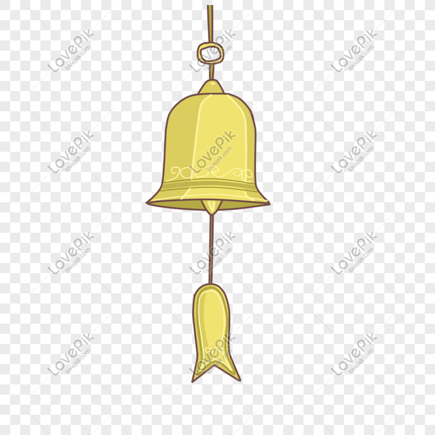 hand drawn golden wind chime illustration png